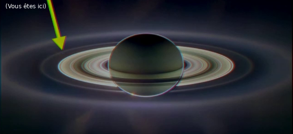 Anneaux de Saturne, pris de l'autre côté (la flèche indique la Terre