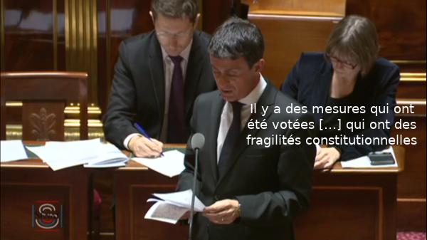 Il y a des mesures qui ont été votées […] qui ont des fragilités constitutionnelles